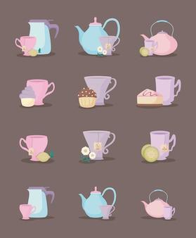 Conjunto de bules e xícaras de chá conjunto de ícones