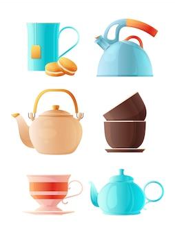 Conjunto de bules. xícara de desenhos animados de chá e várias chaleiras