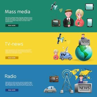 Conjunto de bunners de mídia de massa horizontal