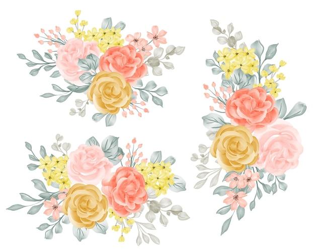 Conjunto de buquê de arranjo de flores com rosa e folhas