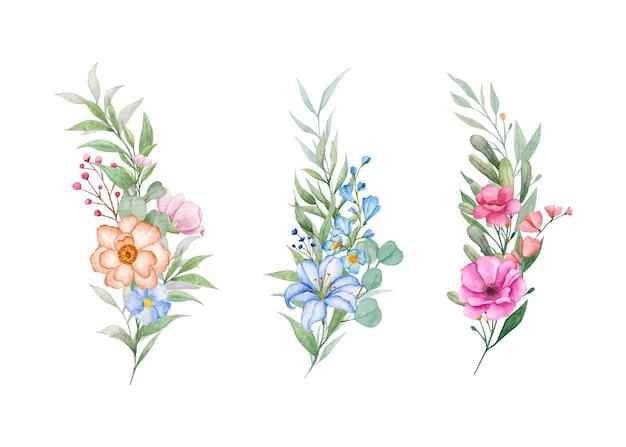 Conjunto de buquê de flores botânicas em aquarela desenhada à mão