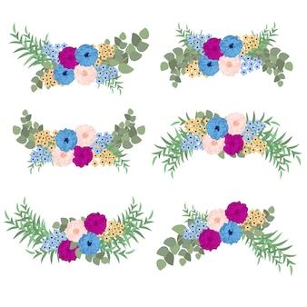 Conjunto de buquê de flores coloridas com eucalipto e vegetação