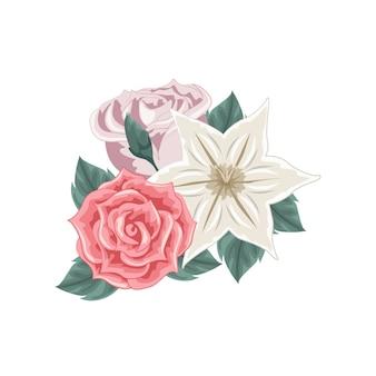 Conjunto de buquê de flores coloridas