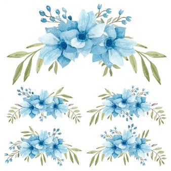 Conjunto de buquê de flores de anêmona aquarela