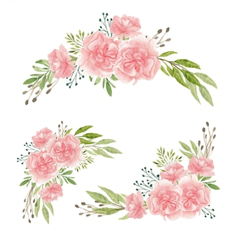 Conjunto de buquê de flores de cravo em aquarela pintada à mão