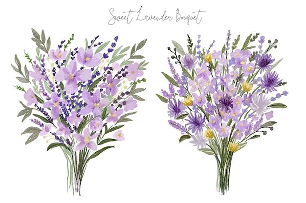 Conjunto de buquê de flores de lavanda