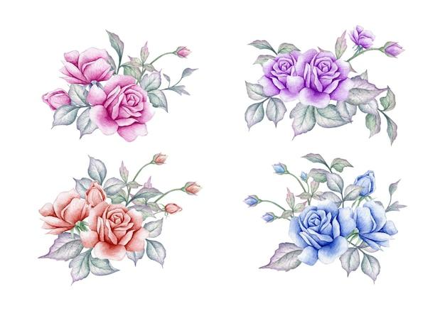 Conjunto de buquê de flores em aquarela para cartão