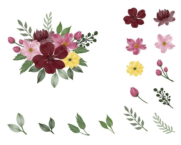 Conjunto de buquê de flores em cores e ramos e folhas de botão de flor de elemento