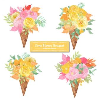 Conjunto de buquê de sorvete de flores com rosas amarelas e rosa