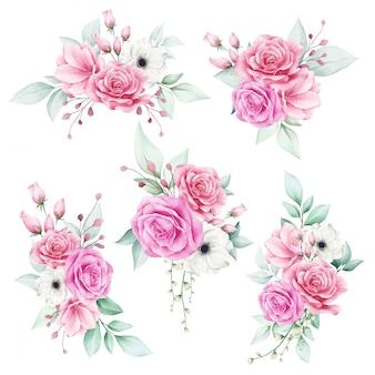 Conjunto de buquê floral aquarela romântico