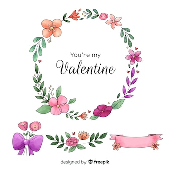 Conjunto de buquê floral e coroa de dia dos namorados