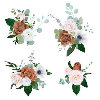Conjunto de buquês com rosas rosa claro e marrom