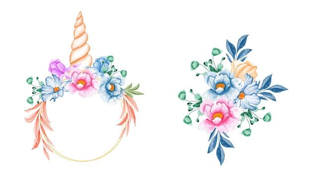 Conjunto de buquês de aquarela de flor azul suave e folhas com unicórnio