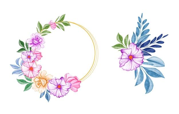 Conjunto de buquês de aquarela de lindas folhas e flores