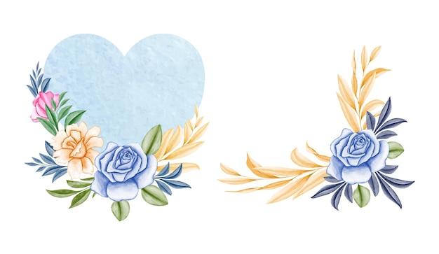 Conjunto de buquês de aquarela de rosas azuis suaves e folhas