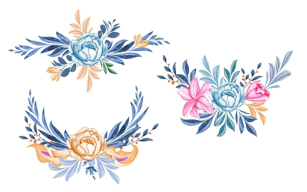 Conjunto de buquês de aquarela de rosas azuis suaves e lindas folhas