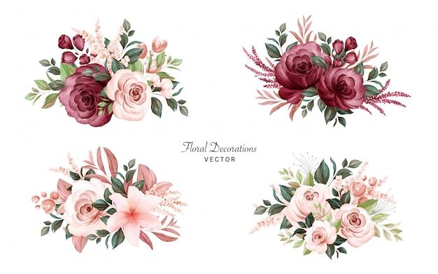 Conjunto de buquês de aquarela de rosas e folhas marrons e bordô suaves.