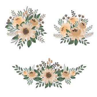 Conjunto de buquês de aquarela floral