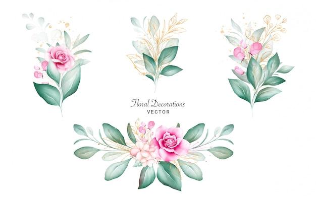 Conjunto de buquês de aquarela para composição de cartão de logotipo ou casamento. ilustração de decoração botânica de rosas de pêssego e vermelhas, folhas, galhos e glitter dourado