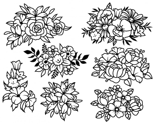 Conjunto de buquês de flores. coleção de composições de grinaldas com lindas flores da primavera.
