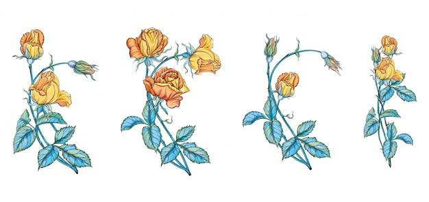 Conjunto de buquês de flores com rosas amarelas. rosas amarelas
