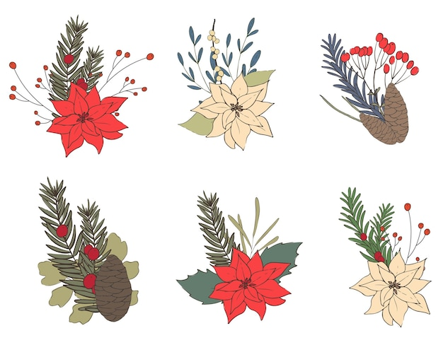 Conjunto de buquês de flores de natal