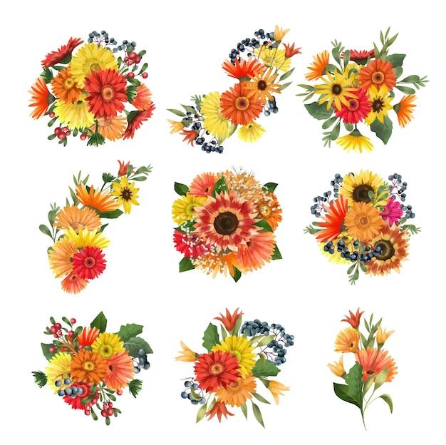 Conjunto de buquês de flores de outono, girassóis de asters e flores gérberas