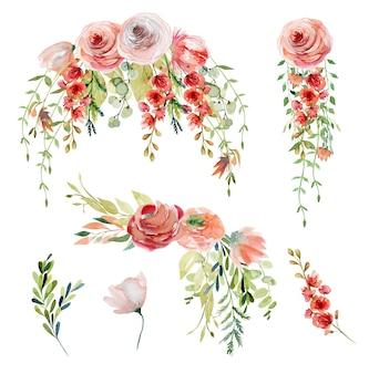 Conjunto de buquês de flores em aquarela de primavera e composições de delicadas flores silvestres, folhas verdes e galhos