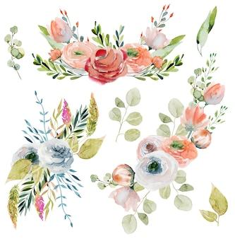 Conjunto de buquês de flores em aquarela de primavera e composições de delicadas flores silvestres, folhas verdes, galhos e eucalipto