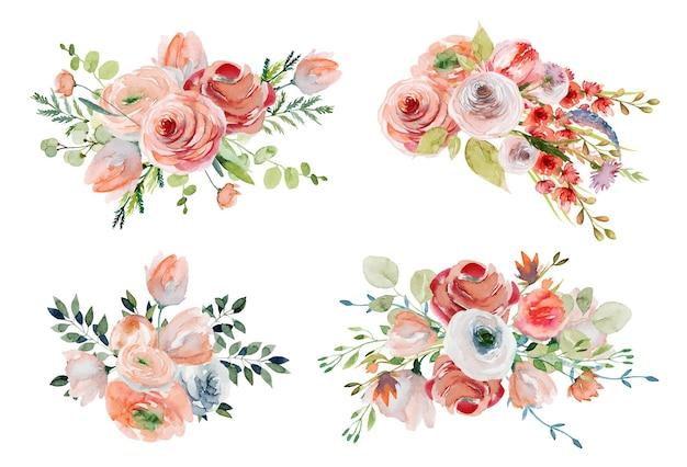 Conjunto de buquês de flores em aquarela de primavera e composições de rosas cor de rosa e brancas, flores silvestres e folhagens