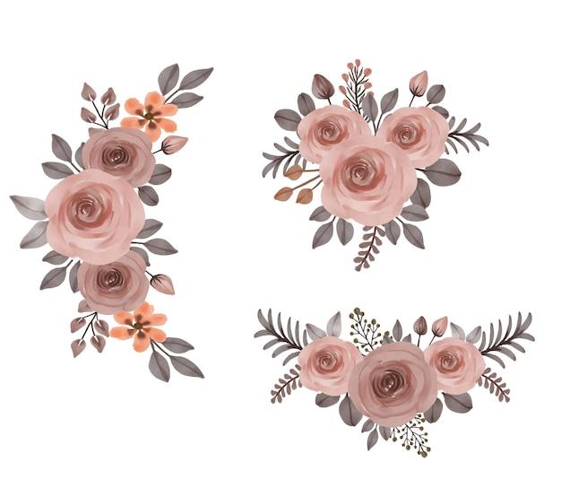 Conjunto de buquês de flores em aquarela de rosas cor de pêssego
