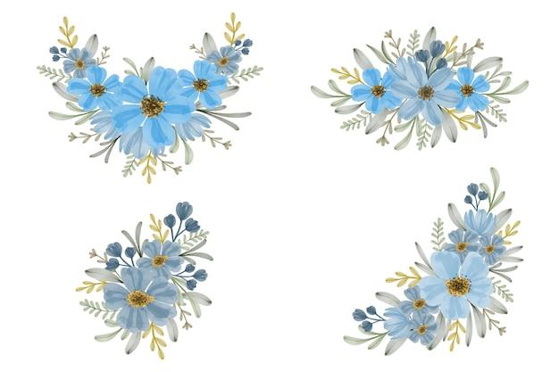 Conjunto de buquês de flores em aquarela