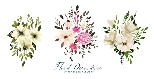 Conjunto de buquês de flores florais em aquarela