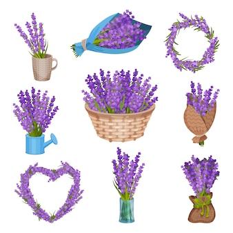 Conjunto de buquês de flores. ilustração.
