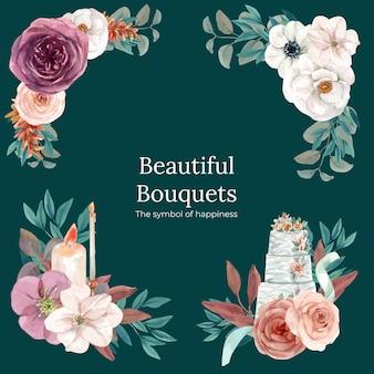 Conjunto de buquês de flores para casamento em estilo aquarela