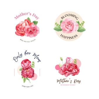 Conjunto de buquês de flores para feliz dia das mães