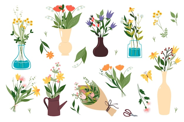 Conjunto de buquês de flores silvestres isolado