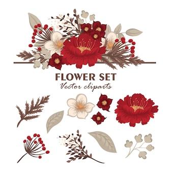 Conjunto de buquês de flores