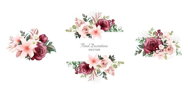 Conjunto de buquês de quadros em aquarela floral de rosas e folhas de pêssego e bordô.