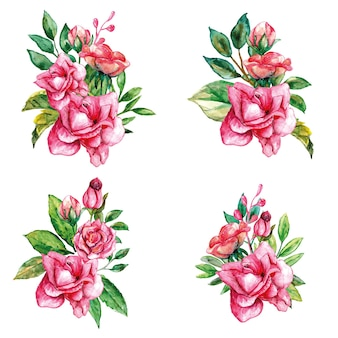 Conjunto de buquês de rosas rosa com folhas