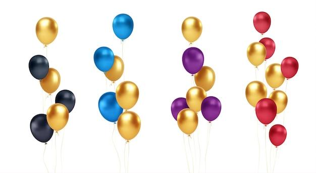 Conjunto de buquês festivos de balões dourados, azuis, vermelhos, pretos e roxos, isolados no fundo branco