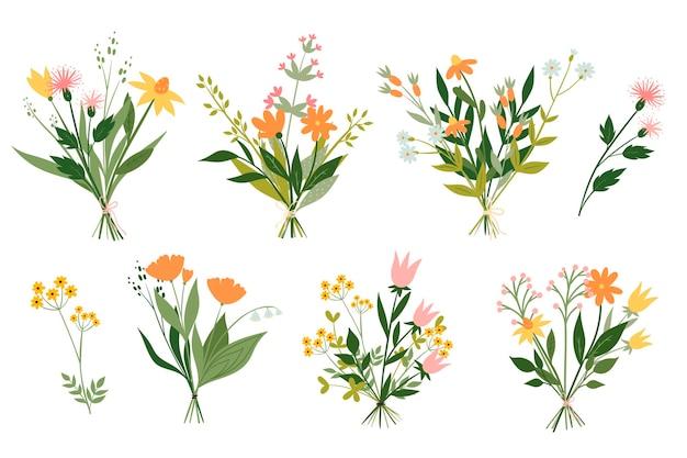 Conjunto de buquês fofos de flores do prado