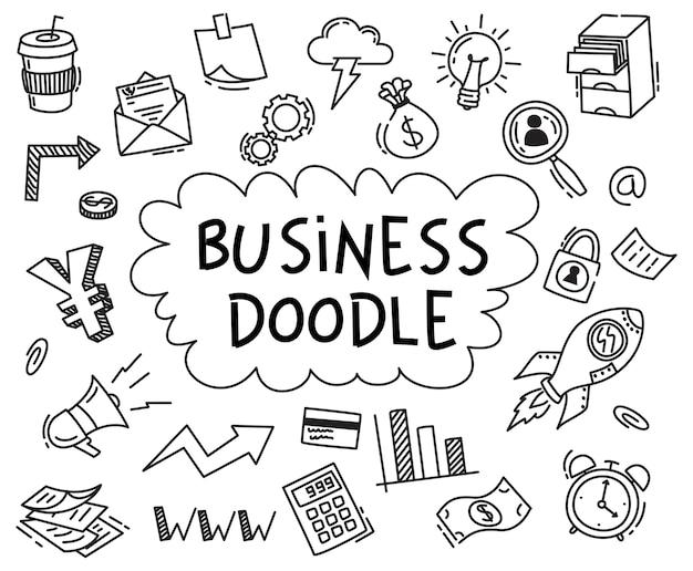 Conjunto de business doodle no fundo branco