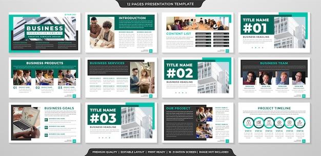 Conjunto de business ppt layout template premium style