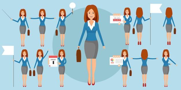 Conjunto de businesswomans em posições diferentes em design plano