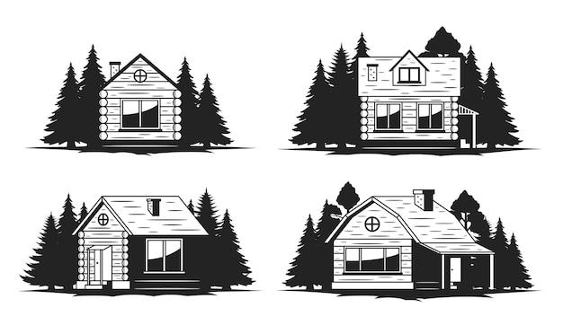 Conjunto de cabana de madeira e casas ecológicas