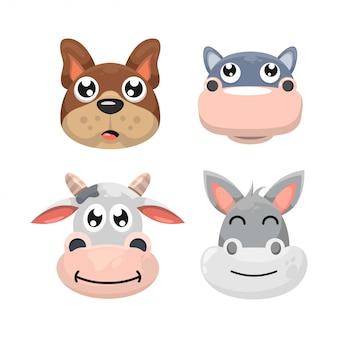 Conjunto de cabeça adorável animal dos desenhos animados