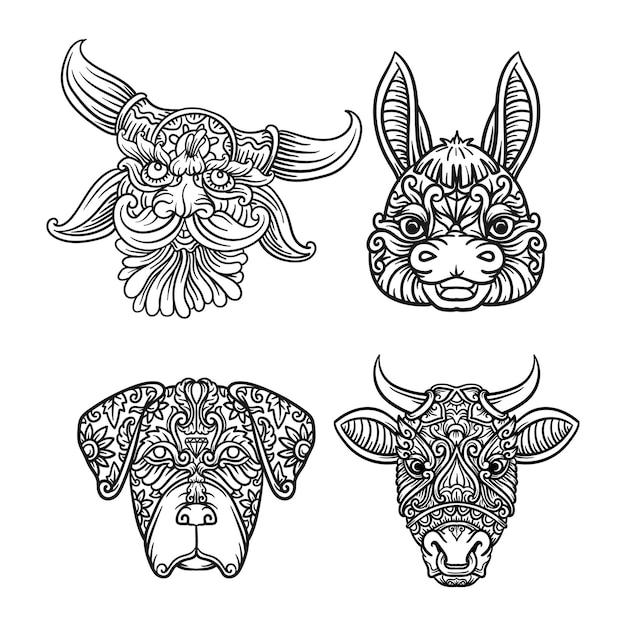 Conjunto de cabeça de animais ornamental em preto e branco com desenho de mandala indiana