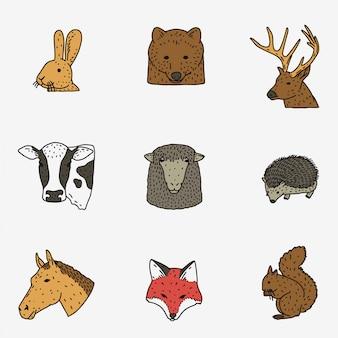 Conjunto de cabeça de animais
