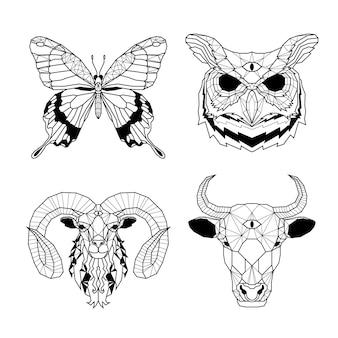 Conjunto de cabeça de animal ilustrado de linha poligonal